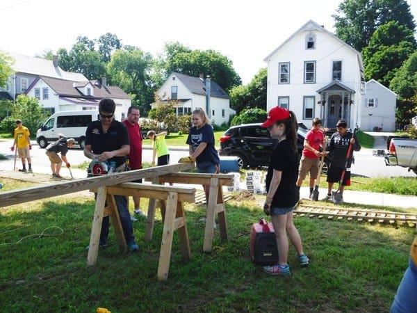 YouthWorks volunteers installing fence, Rutland, Vermont
